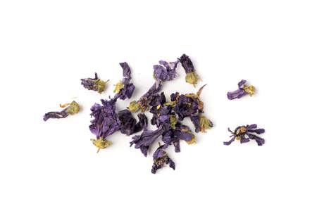 Heap of Dried Violet Flowers Isolated on White background. Pile of Dry Flower Tea, Dark Blue Small Edible Flowers, Alternative Medicine Supplements
