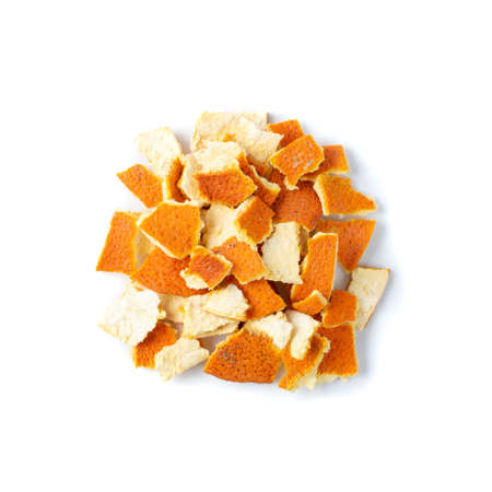 Heap of Dry Sliced Orange Peel Isolated on White Background.