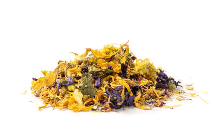 Heap of Dried Yellow Flower Mix Isolated on White background. Pile of Dry Flower Tea, Light Orange and Blue Small Edible Flowers and Petals, Alternative Medicine Supplements Side View
