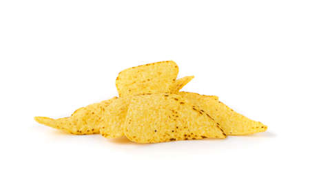 Heap of triangle corn chips isolated on white background. Mexican nachos chips for nacho tortilla, maize snack, corn crisps or totopos