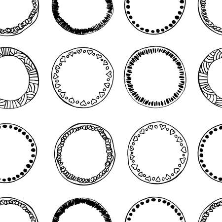 Hand drawn sketched circles seamless pattern. Endless texture background with doodle rings, scribble round wallpaper, sketchy design elements tile