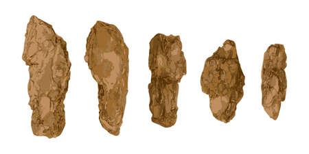 Pine, Cedar or Oak Tree Bark Pieces Isolated. Natural Broken Wooden Garden Mulch Chips Illustration