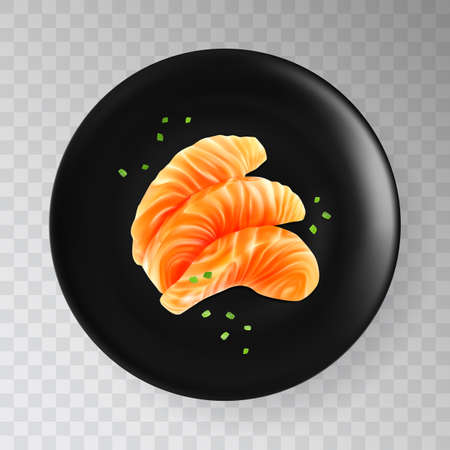 Slices of Raw Salmon Fillet on Black Plate Isolated. Thick Pieces of Fresh Red Fish or Trout Sashimi Illustration