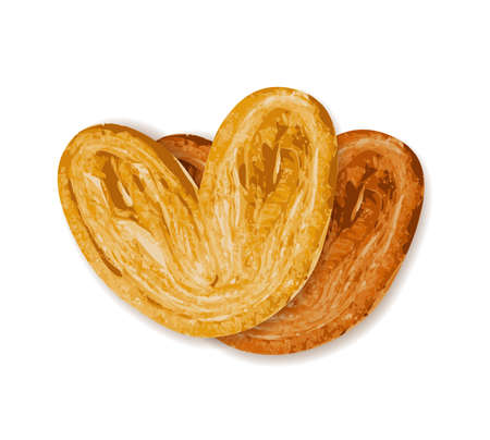 Sweet braided palmiers pastry illustration. Palm heart or elephant ear isolated. French puff pastry or pate feuilletee top view