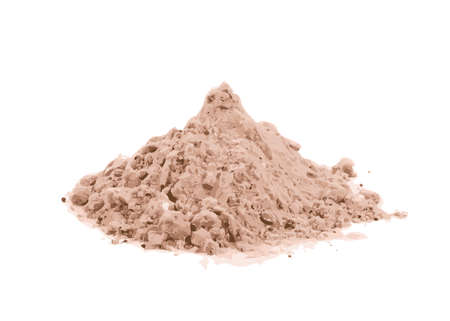Whey cocoa protein powder for brown fitness shake isolated on white background. Chocolate supplement powder pile illustration