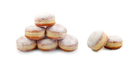 Pyramid of Donut Berliners with Powdered Shugar. Sufganias Collection with Clipping Path Фото со стока