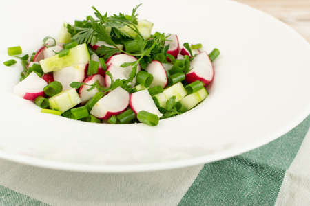 Spring radish salad with fresh cucumber and greens on white restaurant plate closeup. Simple green rustic salat with sliced radishes and cucumbers