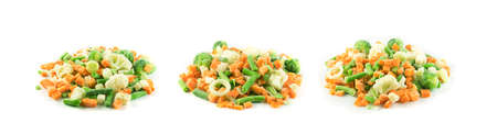 Frozen Mixed Vegetables Isolated on White Background. Raw Chopped Carrot, Cauliflower, Onion, Green Beans and Brussels Sprouts