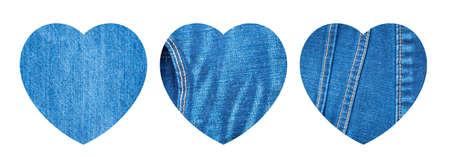 Set of Blue Jeans Hearts Mockup. Denim Backgrounds with Heart Shapes Collection for Creative Design. Jeans Label Templates with Copy Space