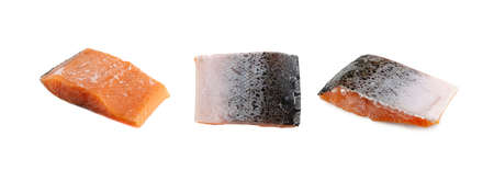 Frozen Iced Salmon Fillet Isolated on White Background. Thick Piece of Red Trout Closup