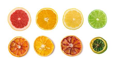 Line of sliced lemon, orange, lime and red grapefruit flat lay and top view. Macro photo of citrus fruits isolated on white background Фото со стока