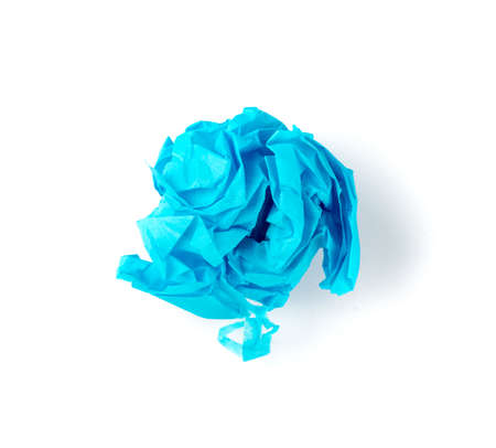 Crumpled Tissue Paper Ball Isolated on White background. Blue Wadded Up Rolling Cigarette Paper. Crumpled Up Tracing Paper Page Ball