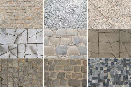 Set of Gray Old Stone Pavement Texture Background Top View. Granite Cobblestone Road Pattern, Vintage Sidewalk Mockup Collection with Copy Space