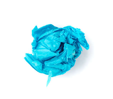 Crumpled Tissue Paper Ball Isolated on White background. Blue Wadded Up Rolling Cigarette Paper. Scrunched Tracing Paper Page Ball