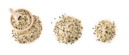 Mix of Raw Black Wild Rice and Parboiled White Rice Top View. Healthy Dietetic Canada Rice Pile