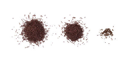 Chocolate sprinkles isolated on white background top view. Sweet brown glaze decoration or chocolate vermicelli Imagens