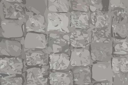 Old Stone Pavement Texture Background Top View. Gray Granite Cobblestone Road Pattern, Vintage Block Sidewalk Mockup, Paved Roadway Wallpaper Illusztráció