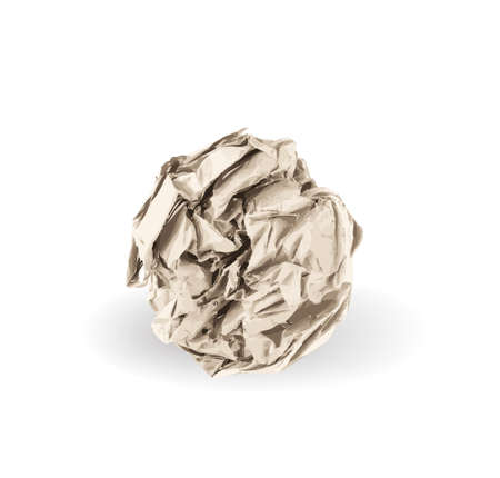 Crumpled Paper Ball Isolated on White background. Natural Textured Brown Wadded Up Document Sheet. Crumpled Up Paper Vector Illustratie