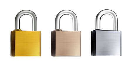 Metal Locks Collection with Golden, Copper and Silver Lock Isolated. Three Padlocks Mockups Made of Different Metals 3d Illustration Vector Illustration