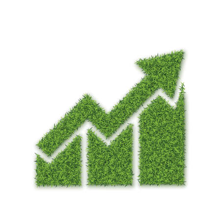 Green Grass Growth Chart on White Background. Three Bars of Grass with Arrow 3D Illustration