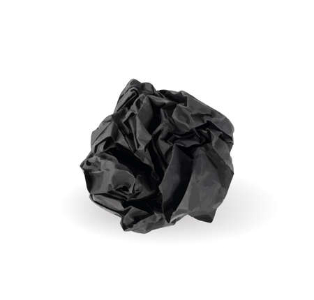 Crumpled Black Paper Ball Isolated on White background. Natural Textured Wadded Up Sheet. Crumpled Up Dark Paper Ball Illustration