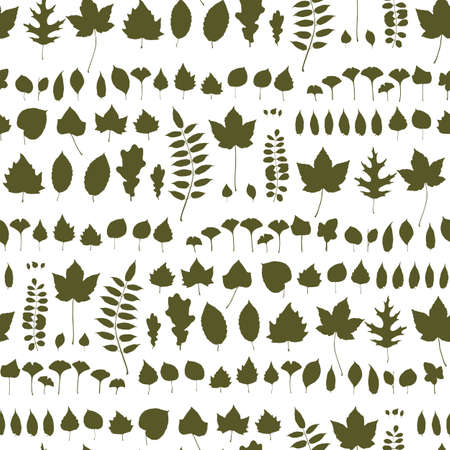 Autumn nordic leaves seamless pattern. Leaf shapes silhouette endless background, foliage tile. Fall tree leaf shapes repetitive wallpaper for fabric, wrapping endless design Иллюстрация