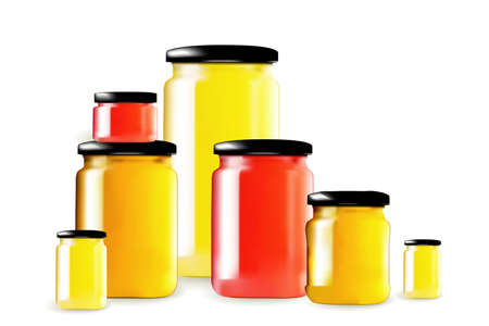 Set of glass jars with red jam and yellow honey cans mockup. Homemade confiture pots, big and small marmalade bottles, isolated transparent containers illustration