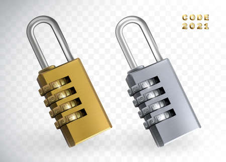 Security lock 2021 3d illustration. New year code padlock isolated. Gold and silver locks with numbers, yellow metal padlocks