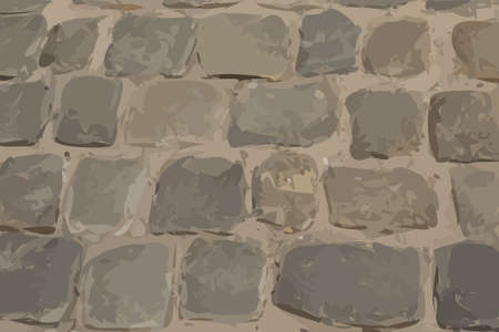 Old Stone Pavement Texture Background Top View. Gray Granite Cobblestone Road Pattern, Vintage Block Sidewalk Mockup, Paved Roadway Wallpaper Иллюстрация