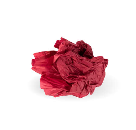Crumpled Tissue Paper Ball Isolated on White background. Red Wadded Up Rolling Cigarette Paper. Crumpled Up Crimson Tracing Paper Page Ball  Illustration