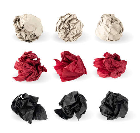 Set of Crumpled Paper Balls Isolated on White background. Natural Textured Wadded Up Document Sheets. Black, Red and Brown Crumpled Up Paper Ball Collection Иллюстрация