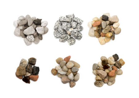 Heap Collection of Pebbles or Sea Stones Isolated on White Background. Set of Basalt Pieces Piles