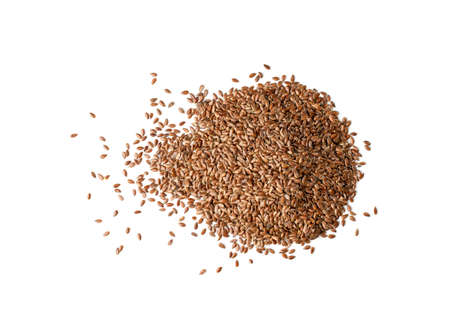 Dry Raw Unpeeled Flax Seeds Isolated on White Background Top View. Pile of uncooked hulls linseeds