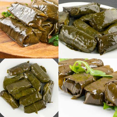 Dolma, Sarma or Dolmades Food Collage. Mediterranean Dish Dolmadakia Mix, Tolma Stuffed Grapes Leaves Collection
