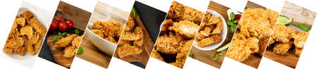 Breaded Fried Chicken Food Collage. Various Hot Crispy Chicken Nuggets Collection, Different Fillet Strips Mix, Meat Pieces in Breadcrumbs Assortment
