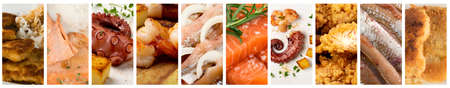 Seafood Collage. Various Sea Food Collection, Different Fish Mix, Salmon, Shrimp, Octopus, Pickled Herring Assortment