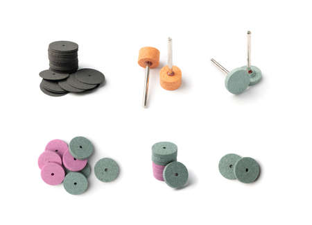 Polishing tools set for sander tool. Mini drill accessories with grinding polishing wheels, abrasive discs, small abrasive equipment