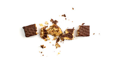 Broken Chocolate Wafers Isolated. Wafer Bar Pieces, Waffle Biscuits Bites. Crunchy Bar Cookies Crumbles, Long Biscuit Sticks Chunk on White Background Top View