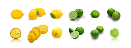Set of yellow lemons and green limes slices isolated on white background. Little sour lemons, fresh organic citrus collection