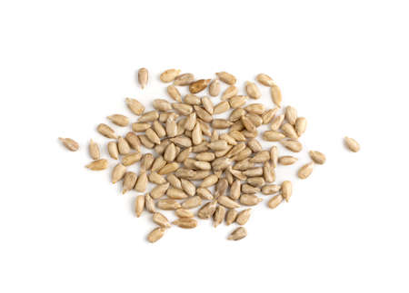 Peeled sunflower seeds isolated on white background top view. Raw sunflower kernels group