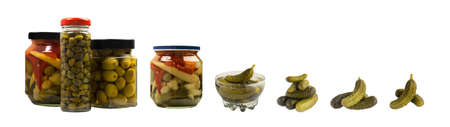 Marinated and Canned Vegetables or Pickles. Fermented Food in Glass Jars Isolated with Clipping Path 免版税图像