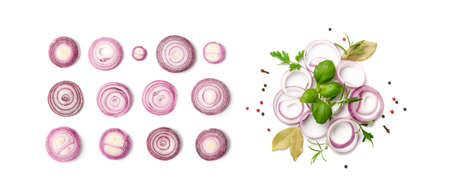 Fresh sliced red onion isolated on white background. Raw purple onion rings set or shallot slices collection top view