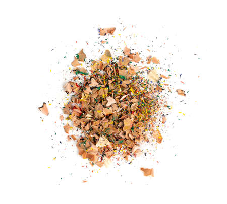 Color wooden pencils shaving garbage, waste or cutting peel isolated. Vintage wood pencil shavings, chips on a white background top view Stockfoto