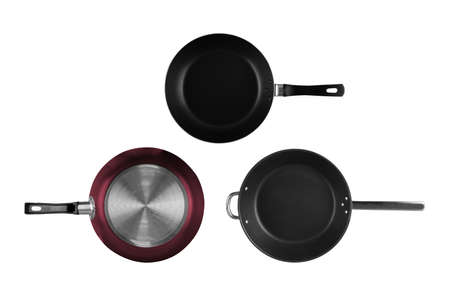 Frying pan isolated on white background . New empty non stick cookware top view
