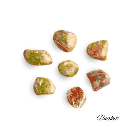 Unakite pebbles isolated. Brown polished altered granite stones with pink orthoclase feldspar, green epidote and quartz vector illustration Ilustração