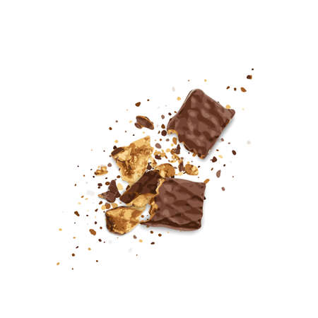 Broken Chocolate Wafers Isolated. Wafer Bar Pieces, Waffle Biscuits Bites. Crunchy Bar, Long Biscuit Sticks Chunk on White Background Vector Illustration Vektorgrafik