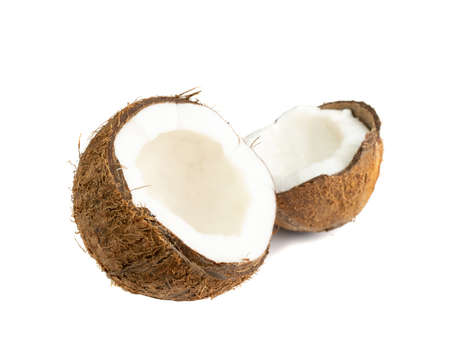 Coconut half isolated. Fresh brown cocos cut on white background, sweet coco nut halves
