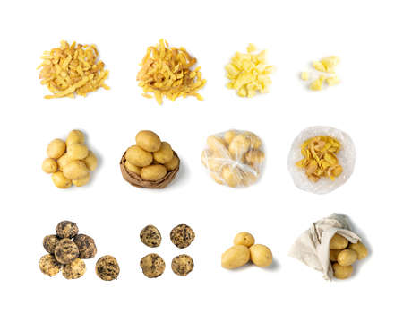 Potato collection isolated on white background. Set of raw and boiled bio potatoes in eco paper bags and in plastic bag Stockfoto