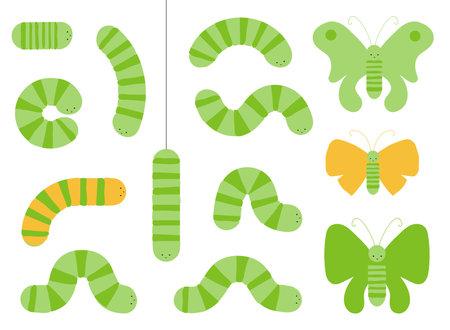 Various cartoon caterpillars and butterflies. Green larva set, caterpillar collection, cute doodle insect vector illustration Stock Illustratie