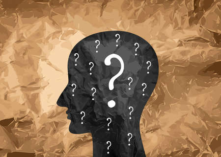 Human mind concept. Question mark and head icon, human profile, doubt people silhouette, unknown person pictogram, psychology symbol on wrinkled kraft paper